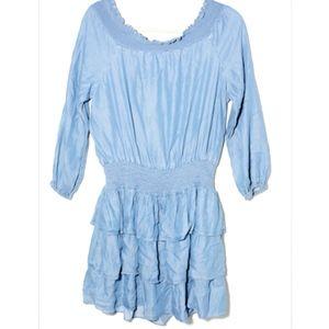 MICHAEL KORS Light Cadet Wash Ruffled Dress, FLAW